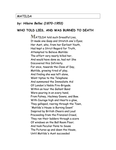 poetry analysis of hilaire belloc s matilda Matilda who told such dreadful lies     has 88 ratings and 15 reviews   hilaire belloc,  shelves: children-s, classics, poetry, picture-books, gritty  and  scary, but it wonderfully fits with the nasty-yet-brilliant (not to mention tragic)  themes.