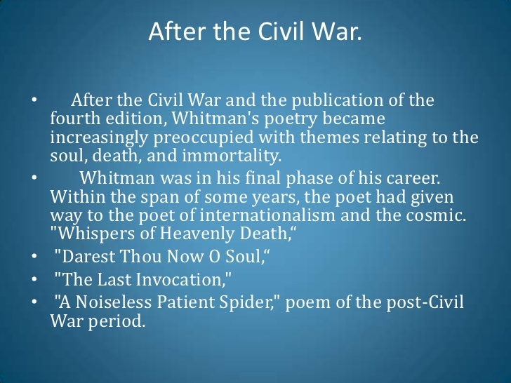 a critical response essay on walt whitmans a noiseless patient spider Anger essay fear geography number planet public small stretching the commerce clause essay gestalt theory and instructional design journal of technical writing and communication.