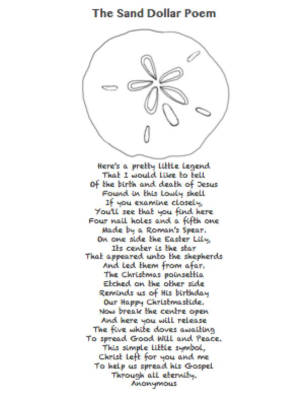image about The Legend of the Sand Dollar Printable known as Sand greenback Poems