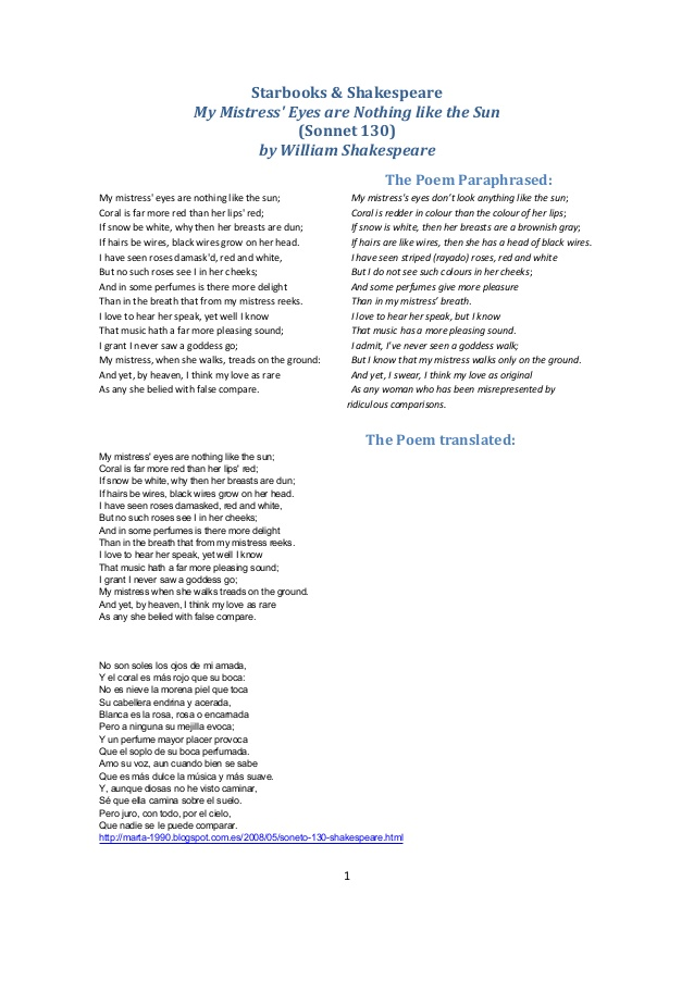 analysis sonnet 130 essays Iambic pentameter: the poem uses an iambic pentameter, a rhythmic scheme used in sonnets the rhyme scheme is ababcdcdefef gg, and is split into three quatrains and a.