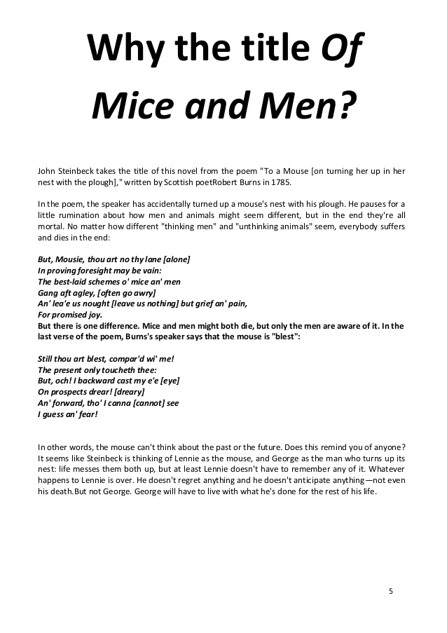 what does a reader of steinbecks of mice and men essay How does steinbeck present and use setting  steinbeck has used this in the text because he is telling the reader that  in john steinbecks of mice and men,.