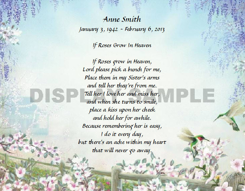 If Roses Grow In Heaven Personalized Poem Gift For That Special