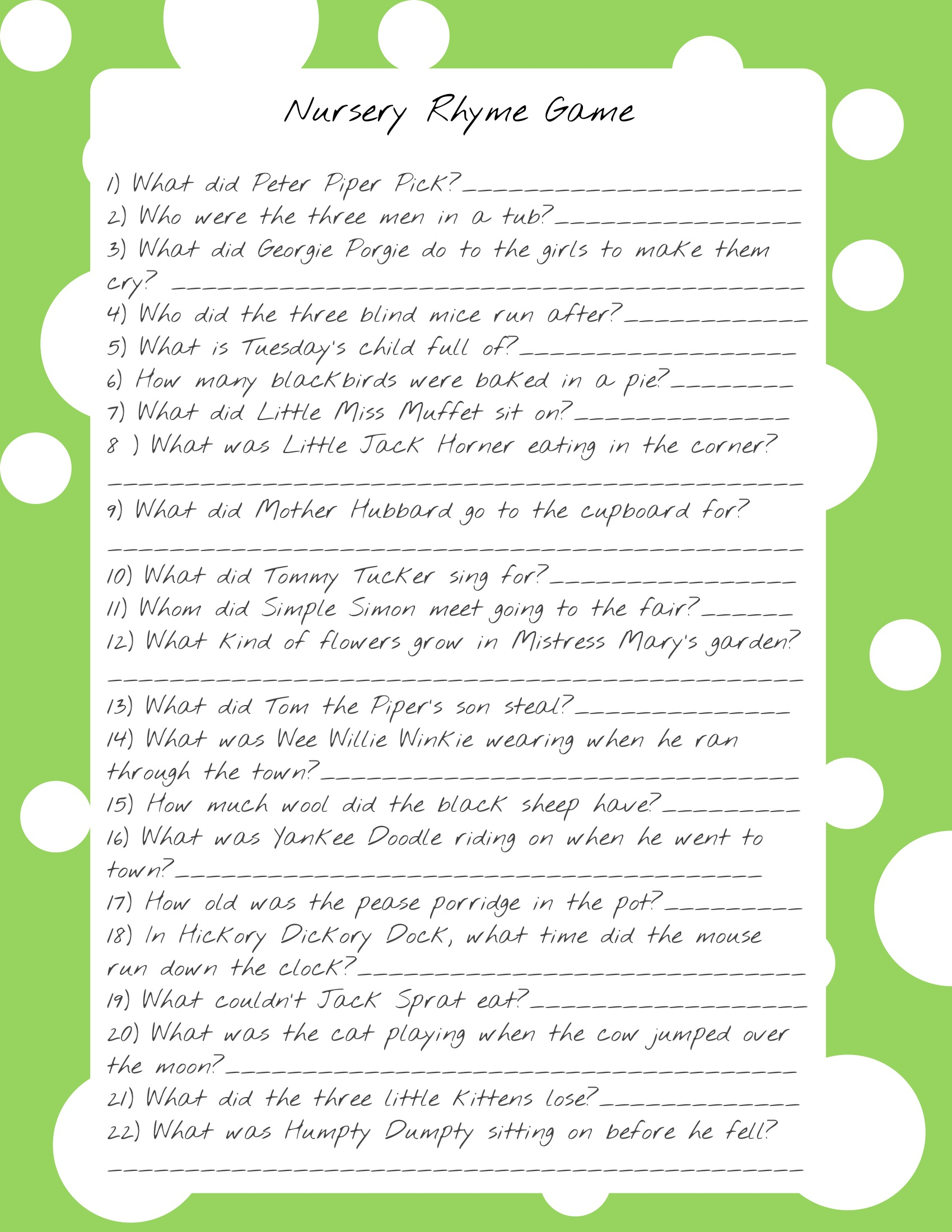 Baby Shower Nursery Rhyme Game Template Adorable Baby Shower Games