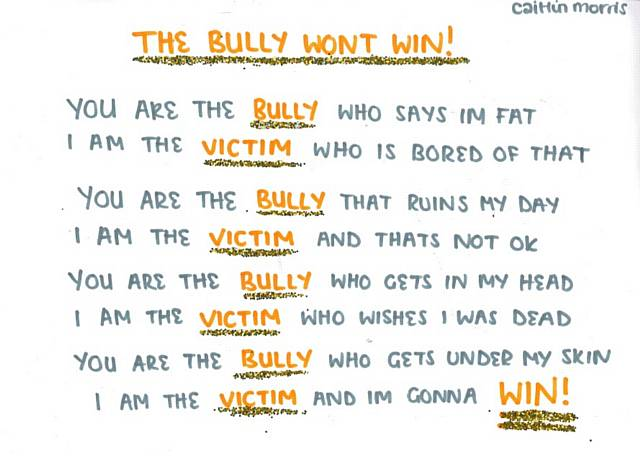 poem on bullying Bullying poems 32 likes i'm doing this because i have been bullied and i want to help other people whoa are getting bullied out there.