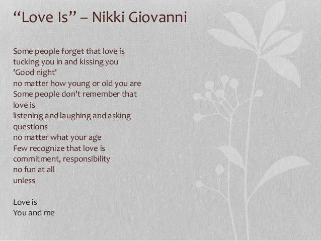 essays on nikki giovani About nikki giovanni: poems poem text nikki giovanni: poems summary character list glossary themes quotes analysis symbols, allegory and motifs literary elements essay questions.