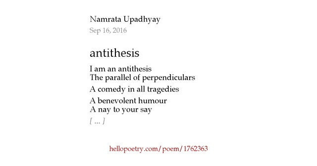 antithesis in famous poems Antithesis of love by john paul ang im placing my everything on the line just to show  famous poems phenomenal  antithesis of love poem by john paul ang.