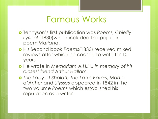 a critical analysis of the meaning of the poem memorial ahh by alfred lord tennyson Alfred lord tennyson's poetry was greatly influenced by his environment tennyson's works reflected the moral and intellectual values of his time related interests.