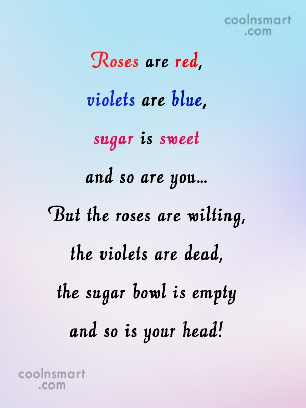 mean roses are red violets are blue poems