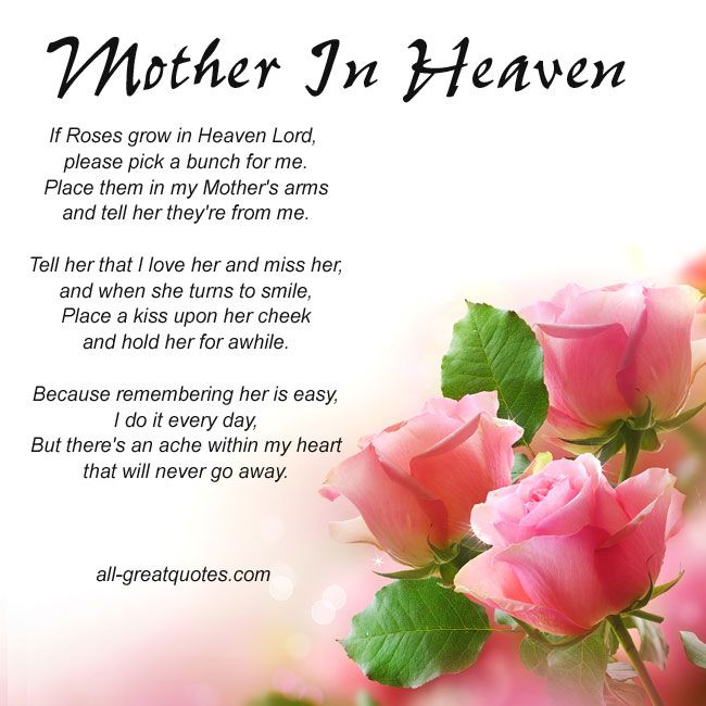 missing my mom in heaven poems