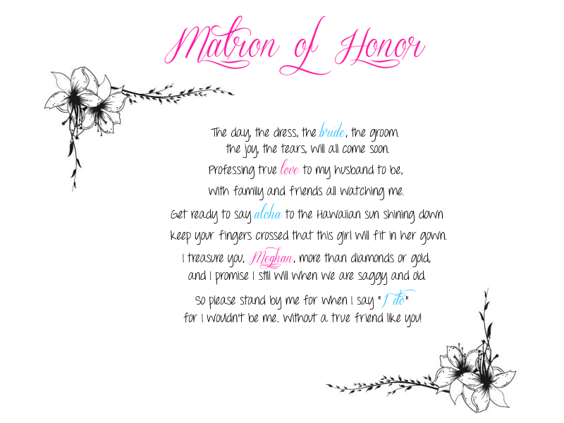 maid of honor poems