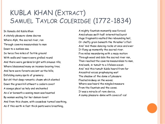 do you find most striking poem kubla khan What do you find most striking about the poem kubla khanworks of imagination should be written in very plain language the more purely imaginative they are the more in this essay i am going to discuss one of the most famous and very striking poem kubla khan which was written by coleridge.