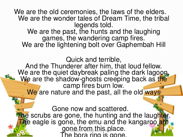 oodgeroo poem Project based learning was first started at new technology high school in america, the few milllion dollar high school funded by bill gates parramatta marist is the 1st school in nsw to do this project and 2nd out of australia.