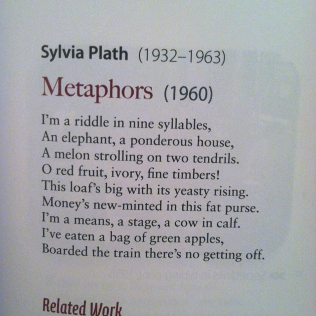 sylvia plaths metaphor Metaphors by sylvia plath i'm a riddle in nine syllables, an elephant, a sylvia plath was an american poet, novelist, and short-story writer she was the first poet to receive a.