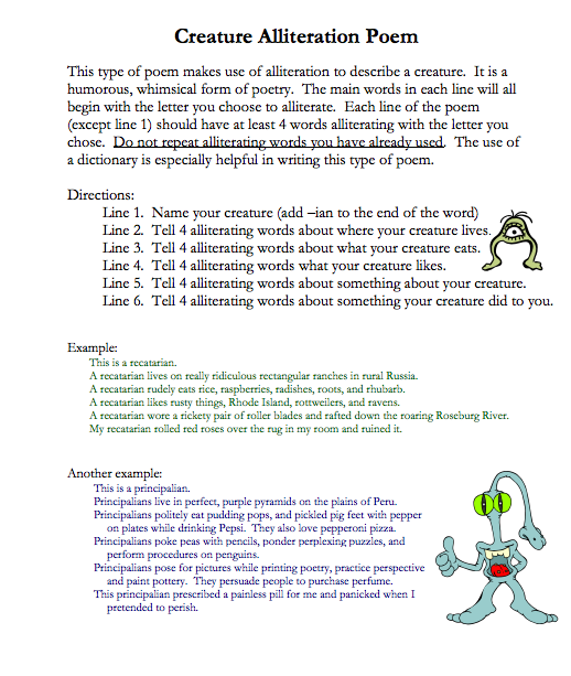 Creature alliteration poems for Alliteration poem template