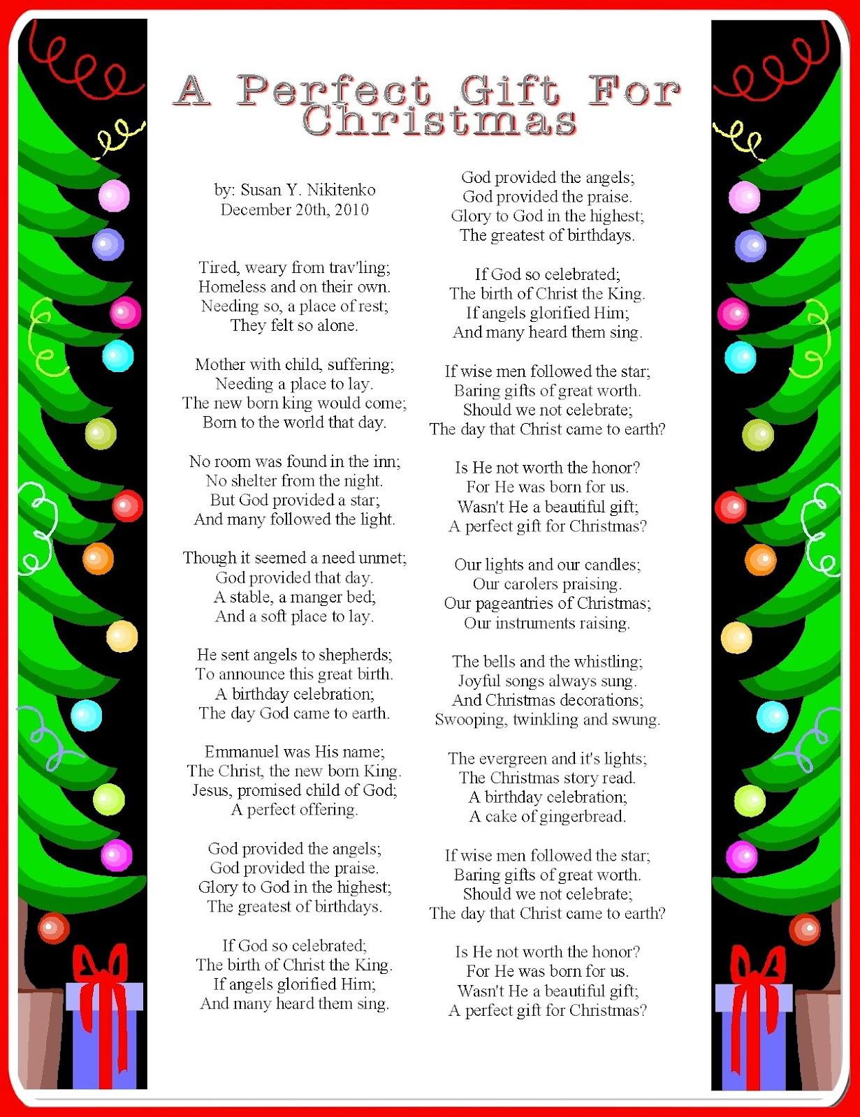 Inspirational christmas Poems