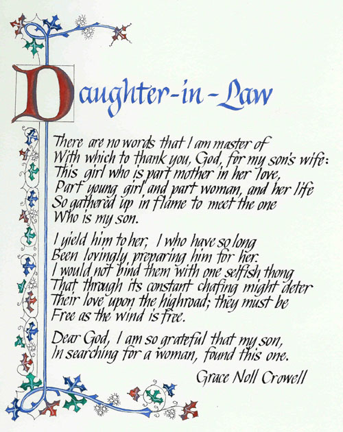 Daughter In Law Poems