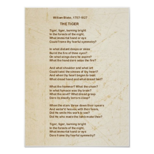 the shared themes in the poem the lamb and the tyger by william blake William blake 101 tracing the full  the lamb, and their shared  containing many of blake's prior themes, this poem offers a glimpse into the poet's later.