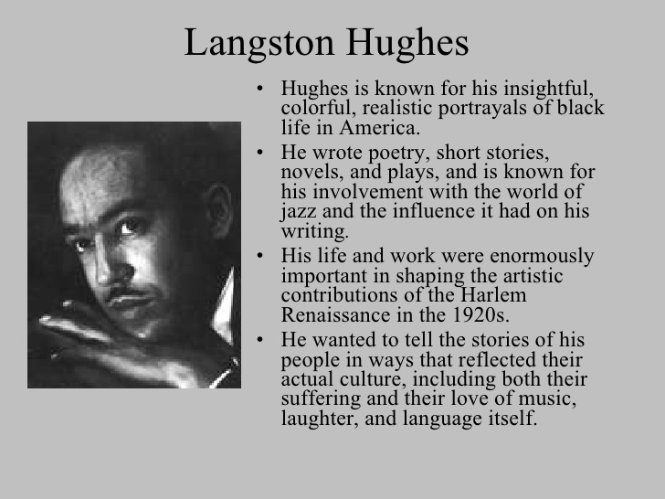 harlem by langston hughes Langston hughes was a popular poet from the harlem renaissance his jazz age poems, including 'harlem' and 'i, too, sing america,' discussed the racism.