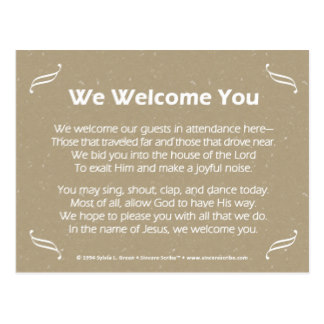 Religious welcome Poems