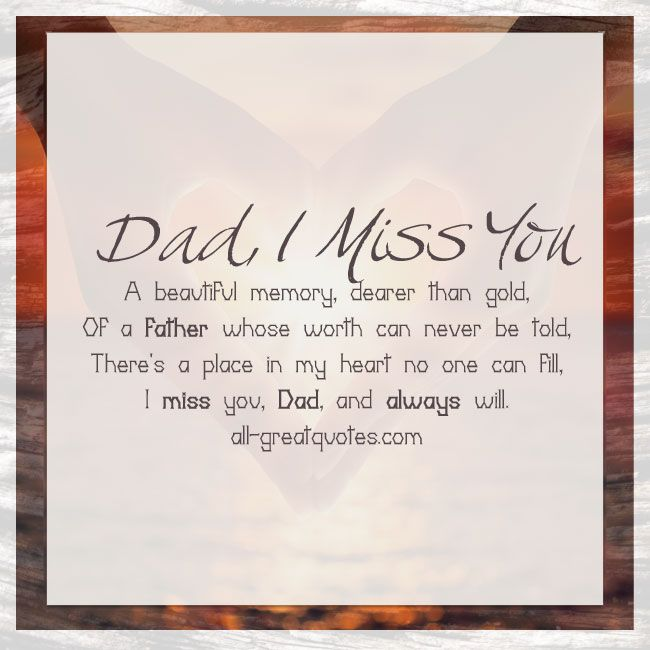 Miss You Dad Poems
