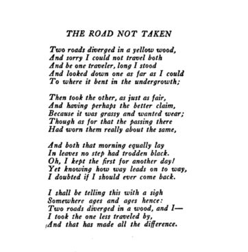 graphic about The Road Not Taken Printable named International ideal Poems