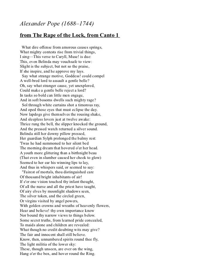 poem rape of the lock