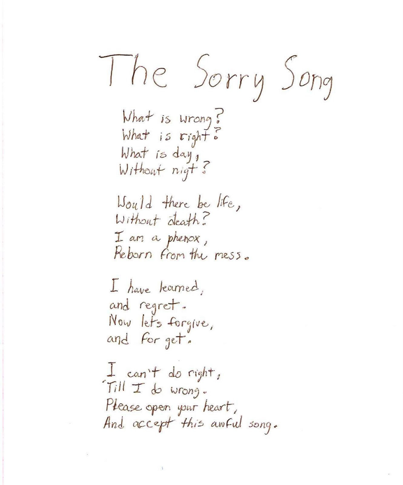 sorry sister poems