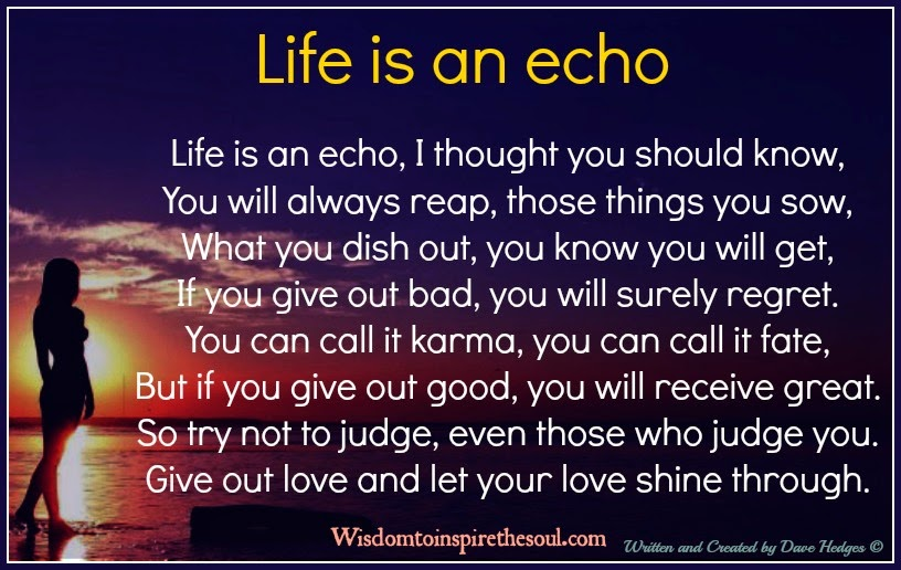 Wisdom To Inspire The Soul: Life Is An Echo, I Thought You .