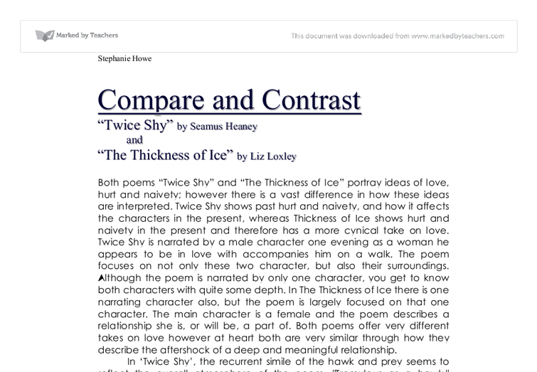 assignment compare how two poems are Similes compare two unlike things that have something in common, using the words like or as to make the comparison a simile says this is like that or this behaves below is an example of how poems of comparison combine some of these poetic devices see if your children can identify the following.