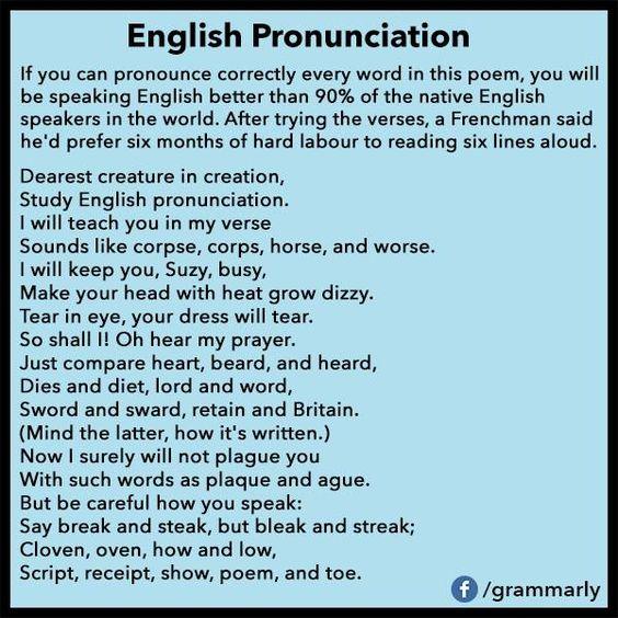 Pronunciation Poems