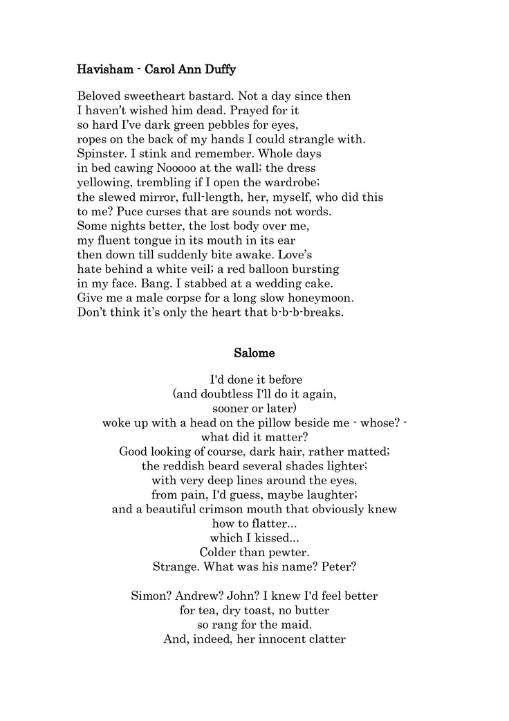 salome carol ann duffy essay In the following essay i will be comparing two poems, 'valentine' by carol ann duffy and 'sonnet 130' by william shakespeare 'valentine' is a contemporary poem while 'sonnet 130' was written about 400 years ago.