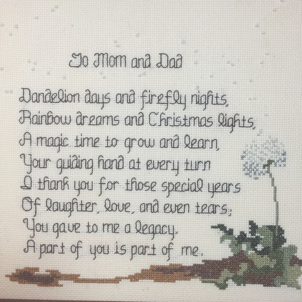 Finished Cross Sch Mom Dad Thank You Legacy Framed