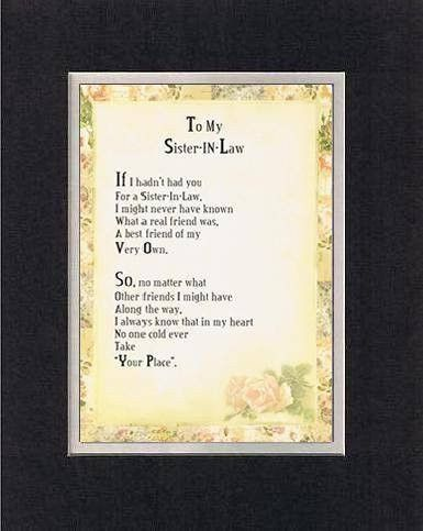 Sister Inlaw Poems