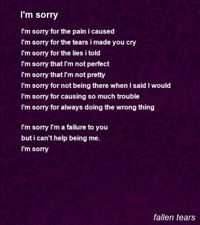 short im sorry poems for her