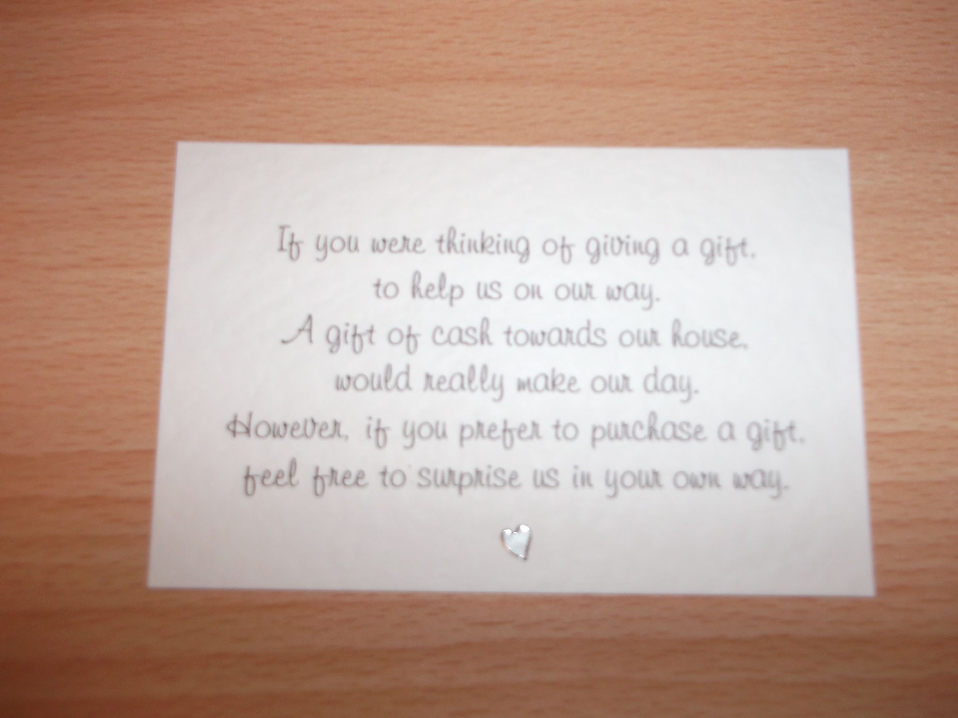 Asking For Cash Wedding Gift Poem - Gift Ideas