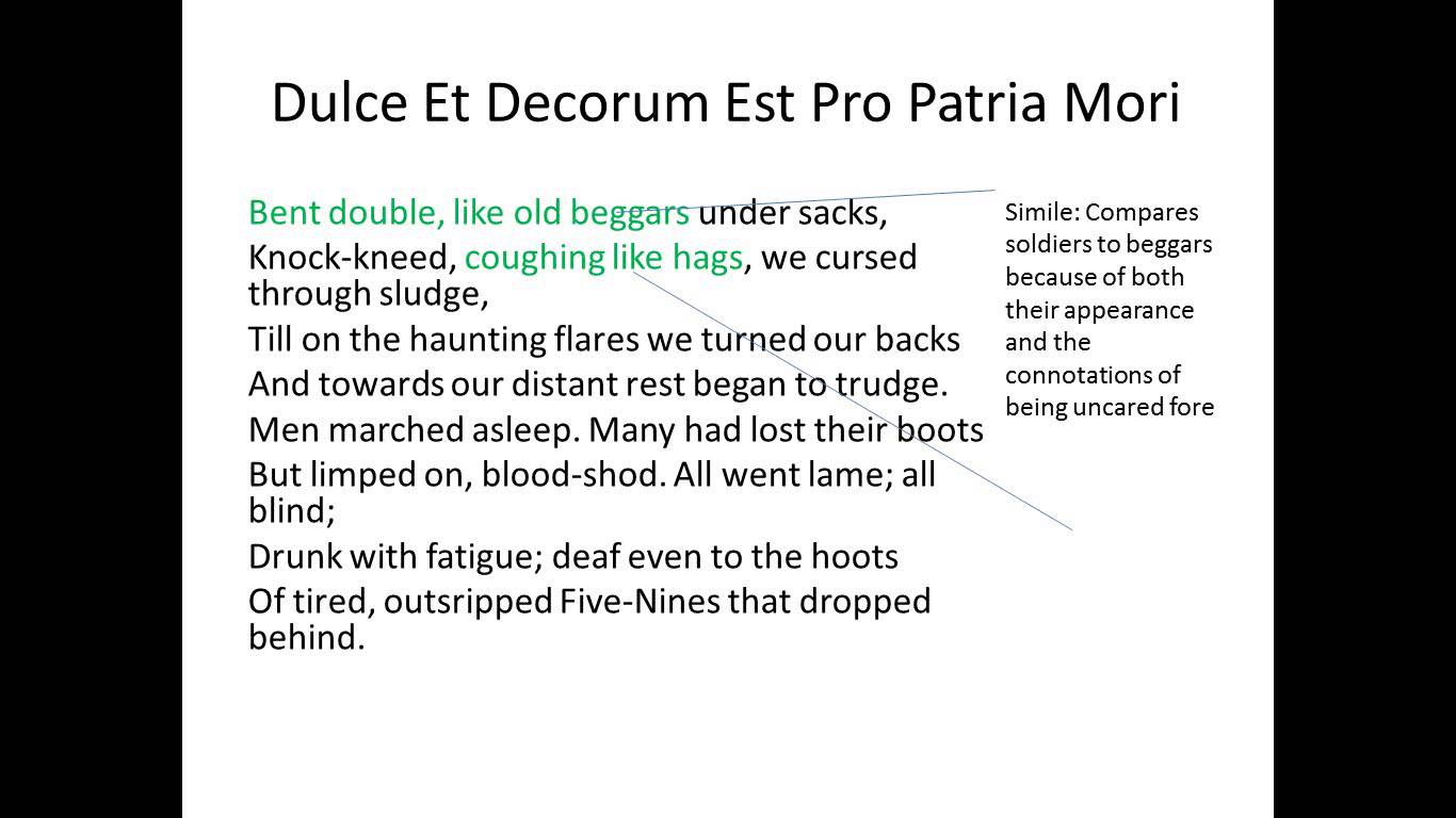 comparing dulce et decorum est and charge Assessing dulce et decorum est as well as the charge of the light brigade although both 'dulce et decorum estâ´ and 'the charge of the light brigade are about struggle and the death of soldiers, they all reveal the experience of war in different ways.