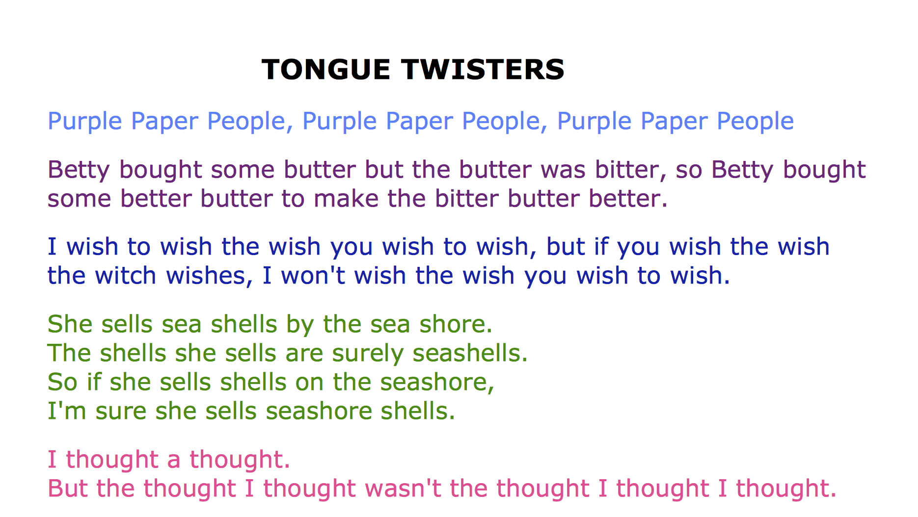 What's your favorite tongue twister? - Quora |Tongue Twisters Poems