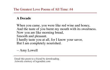 a decade by amy lowell summary