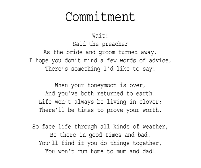 commitment poems