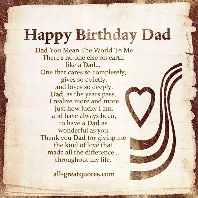 Dad Birthday Poems
