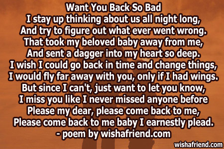 I Want You Back Poems