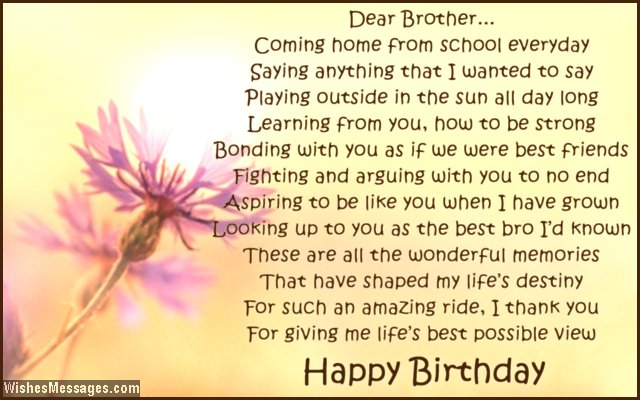Happy Birthday Brother Poems