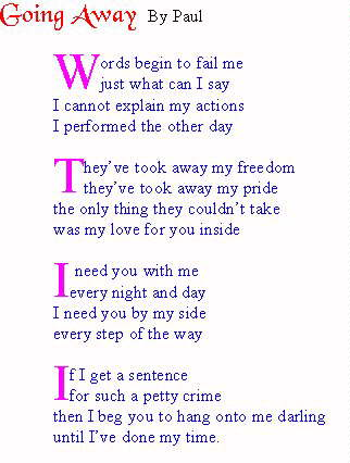Valentine poems for husband in prison