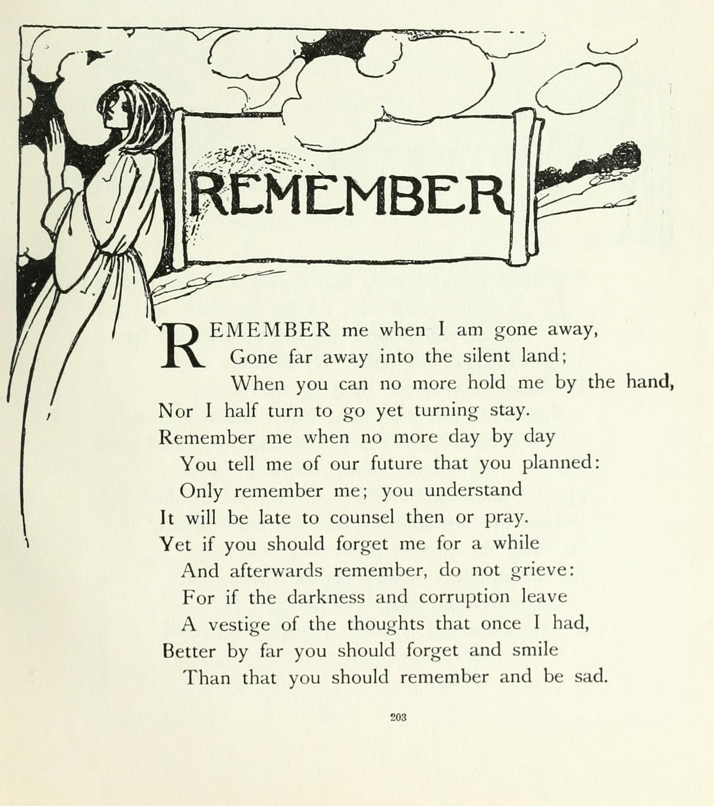 An analysis of the topic of the sonnet remember by christina rossetti in 1849