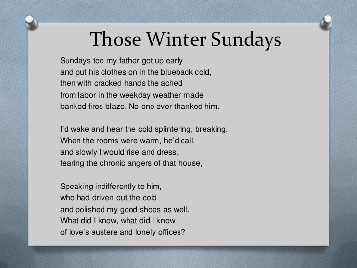 """those winter sundays analysis """"those winter sundays"""" is also remarkable for its practical lessons, which it offers to readers with the purpose of helping them avoid bitter feelings as a result of family problems the following paper aims at making an explication of """"those winter sundays"""" poem by robert hayden."""