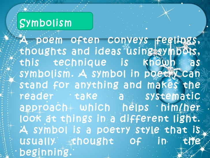 symbolism in short stories and poems Symbolism in literature alexis jones february 26, 2011 imagery and symbolism is what makes short stories and poems so compelling.