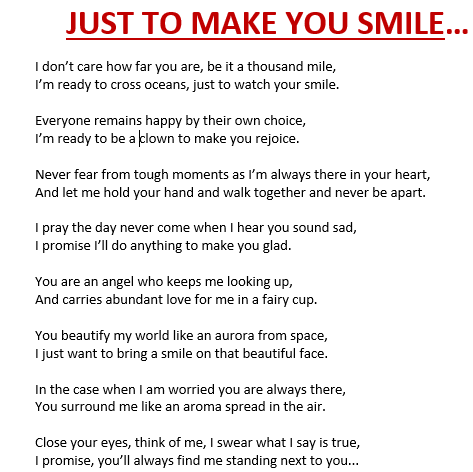 You Make Me Smile Poems