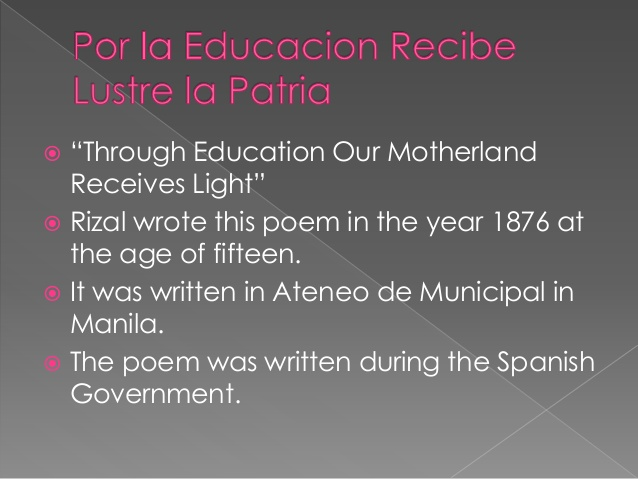 poems of rizal Ii-bsbio this account is created for the purpose of information about jose rizal for the main reason that it is a required activity for the class e105 (section 14) of.