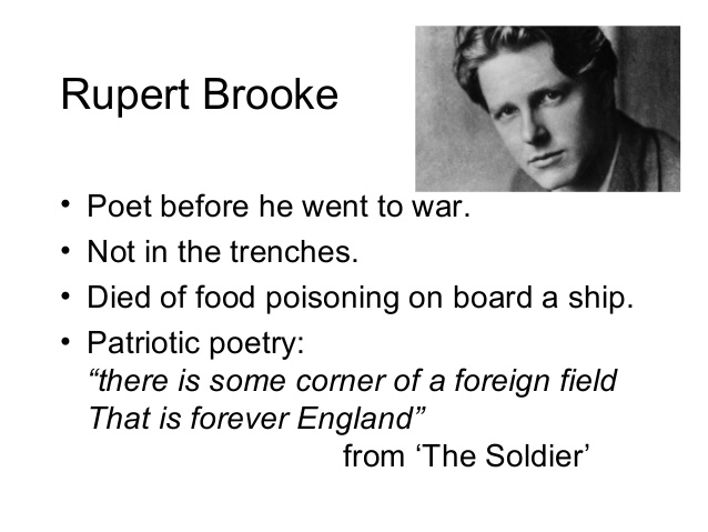 essay on the great lover by rupert brooke Rupert brooke wrote the soldier in a formal tone and used a lot of imagery in it but the other poem is less formal and used rhyme at the end of every line the soldier has a theme of brooke's idealized society while the other poem is about the poet feeling proud of his brother and hoping him to come back safely.