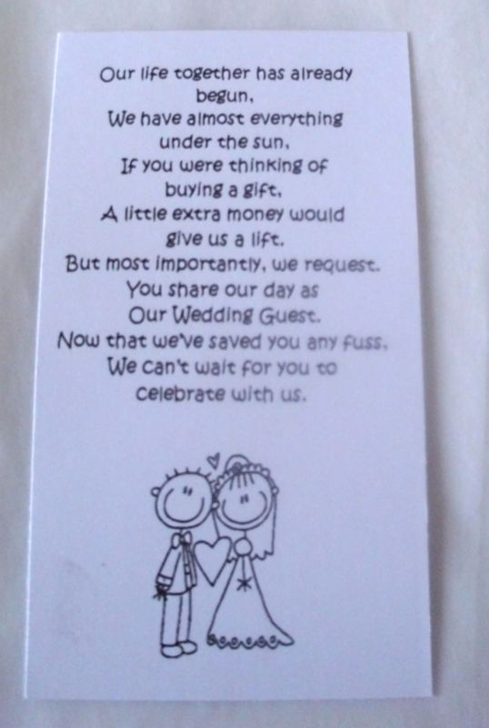 Wedding Gift Poems Asking For Money House Images